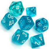 Teal & White Translucent Polyhedral 7 Dice Set